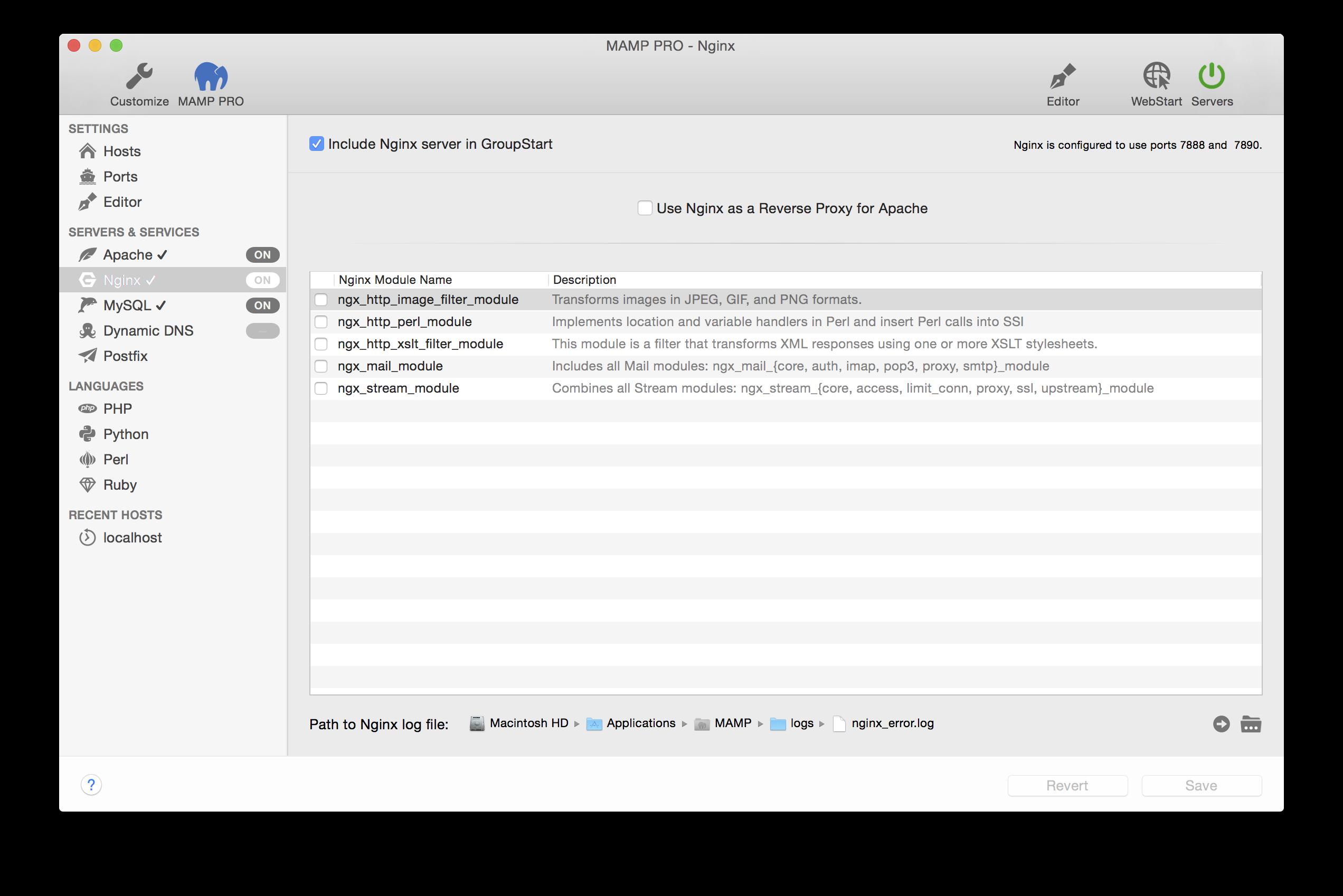 MAMP PRO (Mac) Documentation > Servers and Services > Nginx