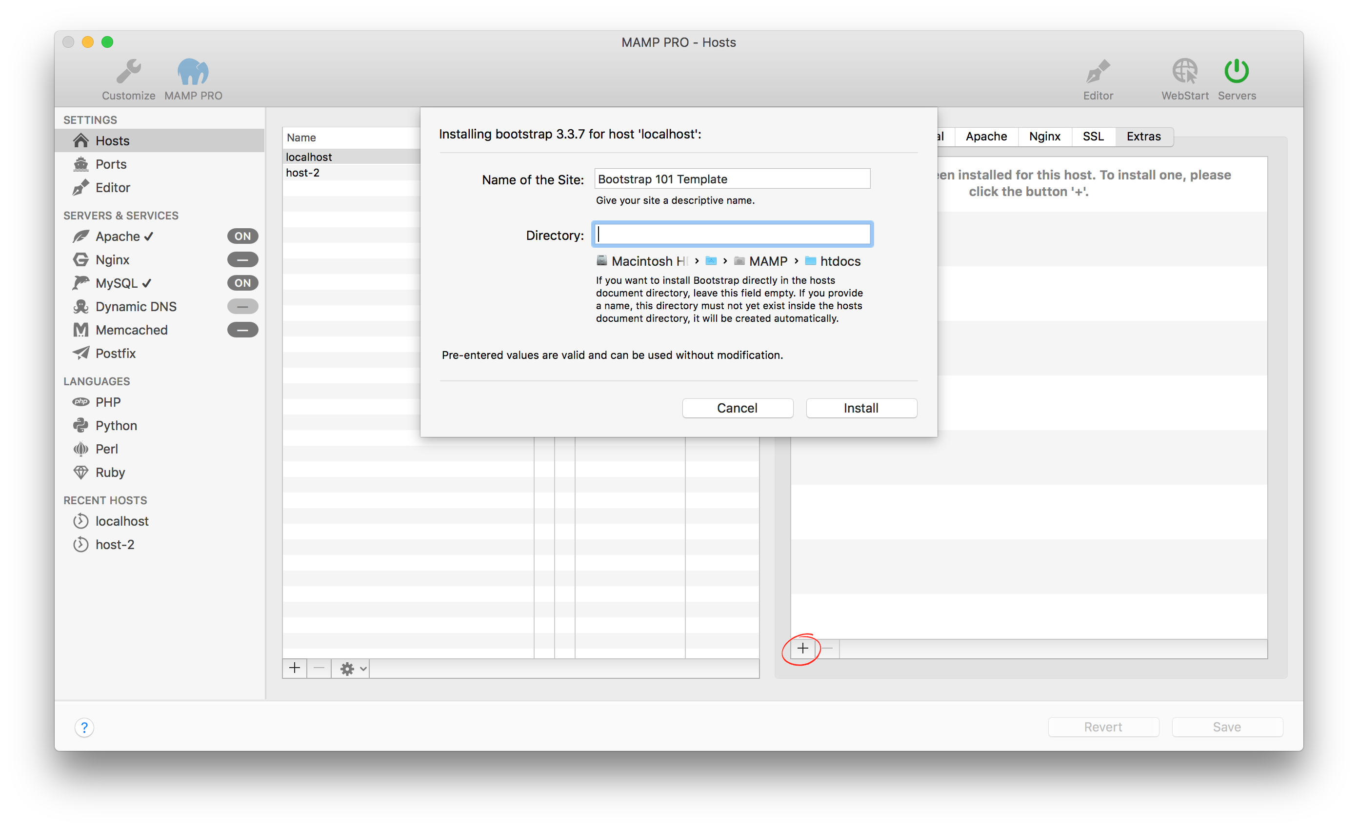 MAMP PRO (Windows) Documentation > Settings > Hosts > Extras > Bootstrap