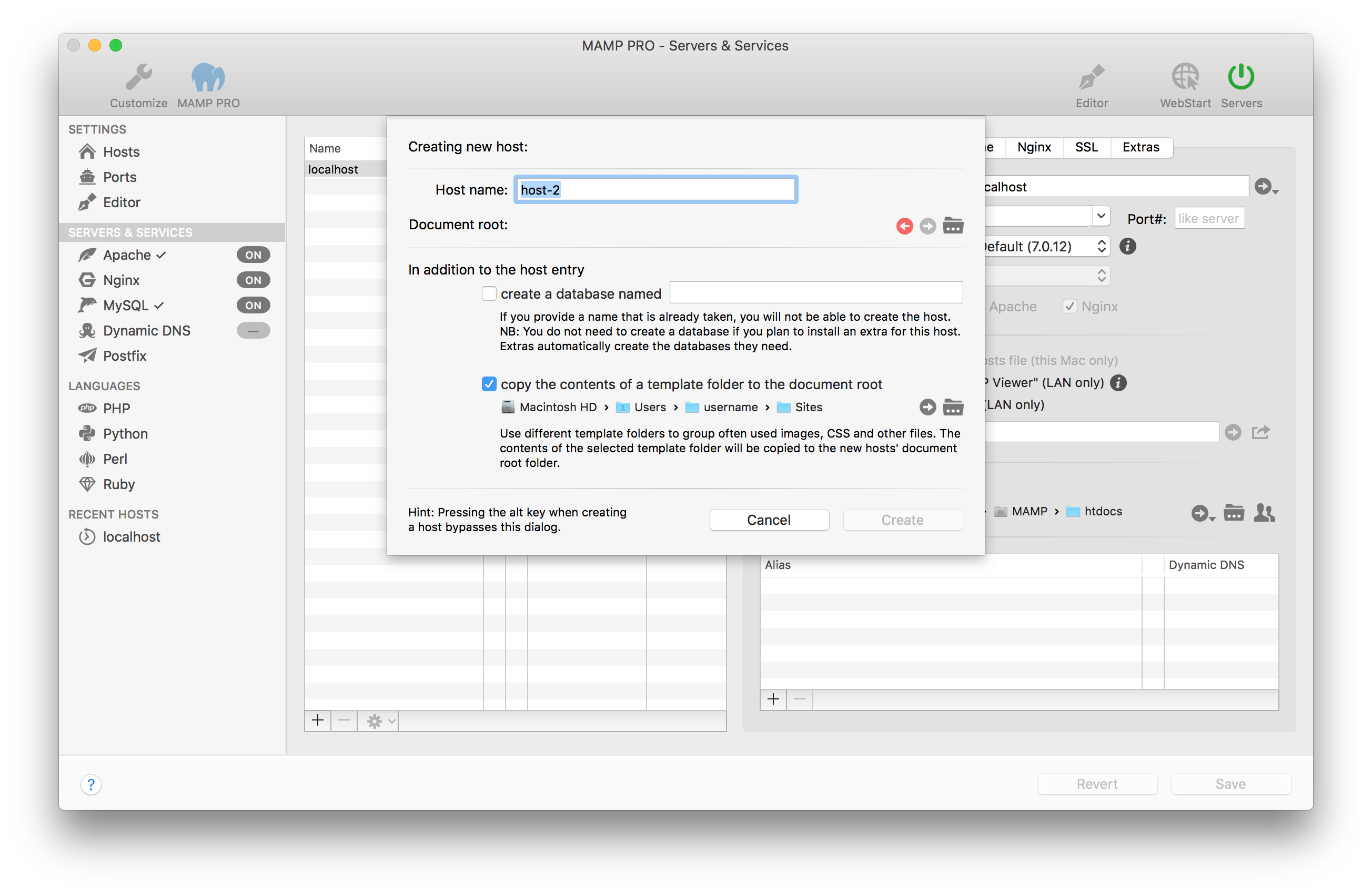MAMP PRO (Mac) Documentation > Settings > Hosts > General